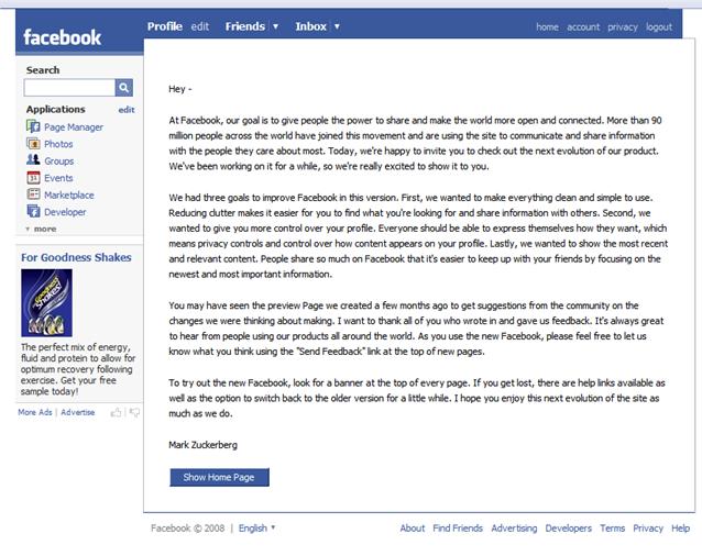 facebook redesign letter