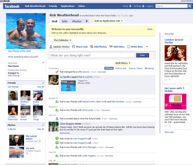 facebook redesign, home page