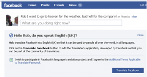facebook uses social networking to translate its pages