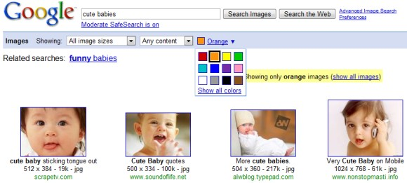 image search colour filter